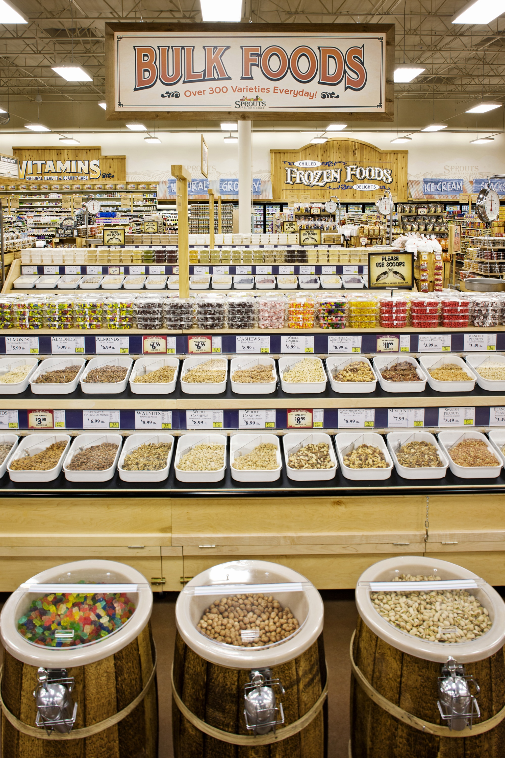 Shot of the bulk foods section in a Sprouts Farmers Market Store
