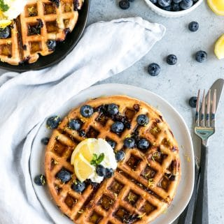 Lemon Blueberry Oatmeal Blender Waffles