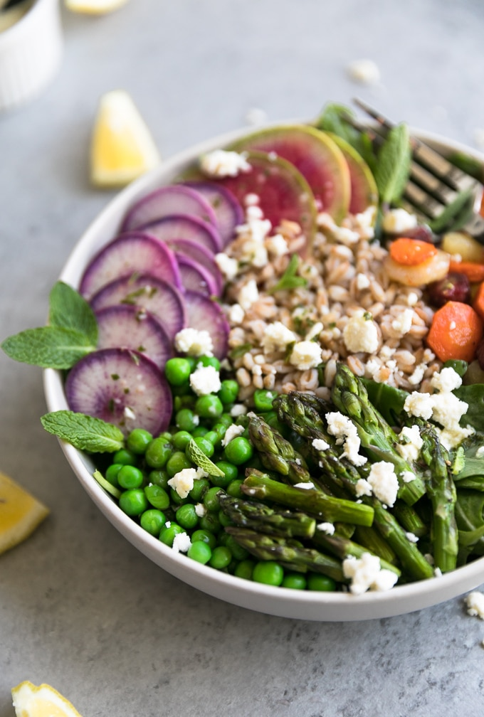Close up shot of a colorful salad with asparagus, peas, radishes, farro, carrots, and feta