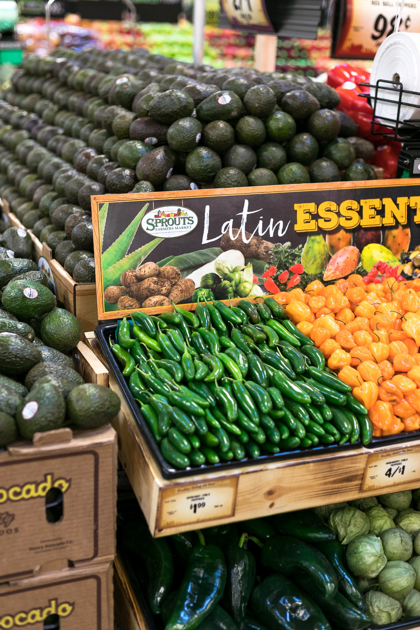 Photo of avocados and Latin cooking essentials at a Sprouts grocery store