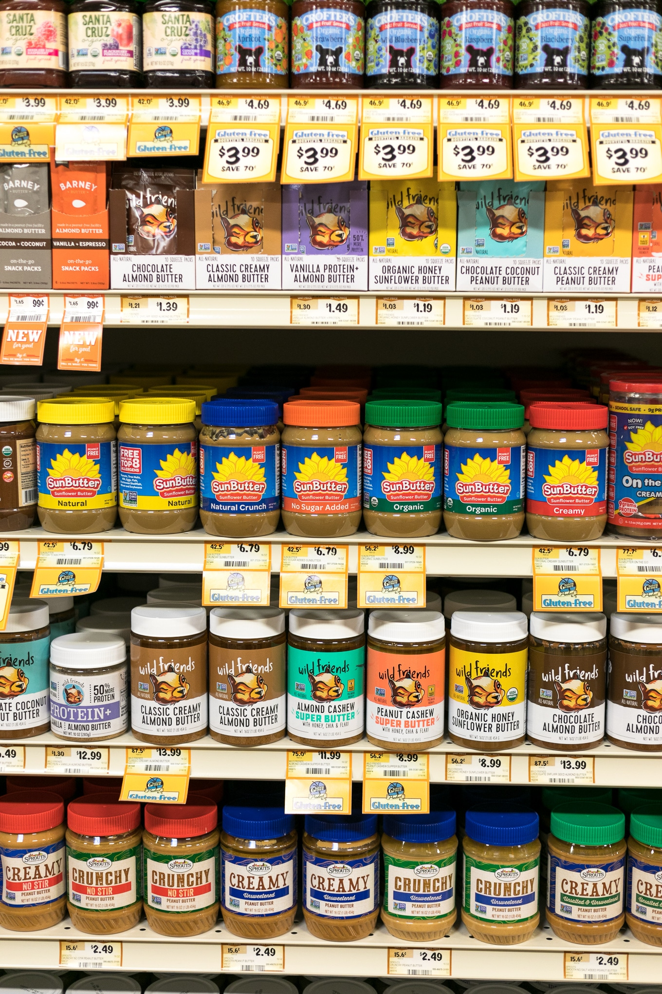Photo of the nut butter aisle at a Sprouts grocery store