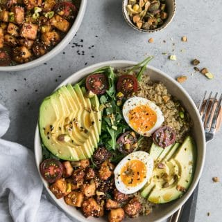 Quinoa Bowls with Sesame Tofu, Avocado, and Pistachios