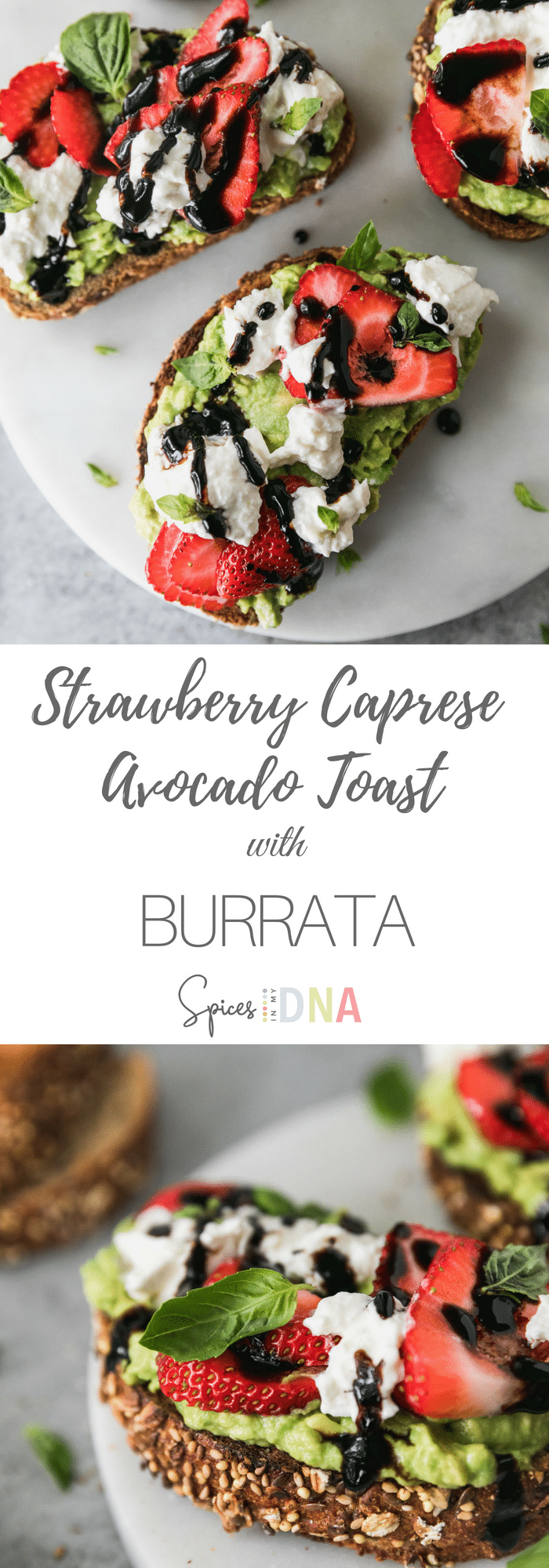 This Strawberry Caprese Avocado Toast with Burrata is the perfect light summer appetizer, and only requires 6 ingredients! The combination of fresh strawberries, mashed avocado, creamy burrata cheese, and sweet balsamic glaze is absolutely to die for! The addition of fresh basil and sea salt puts it over the top! #avocadotoast #caprese #appetizer