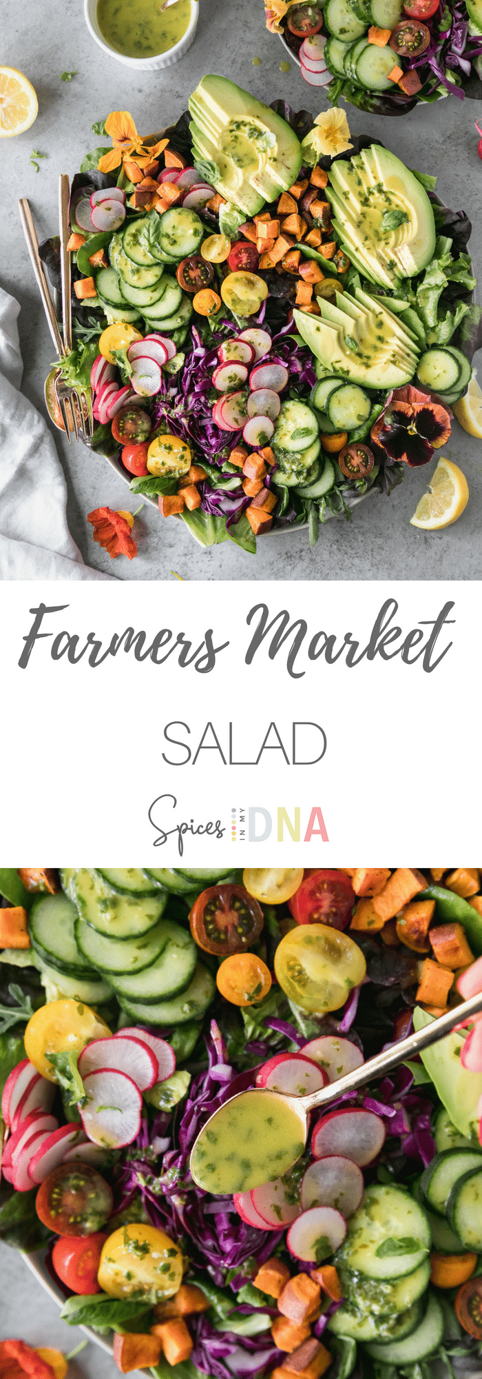 This Farmers Market Salad is filled with lots of fresh veggies, roasted sweet potato, avocado, and a delicious lemon honey basil dressing! It's SO fresh, and you can throw whatever veggies you love in it! It's meant to be made with whatever you have on hand, or whatever looks good at the farmer's market! The perfect light summer meal! #easymeal #salad #summersalad
