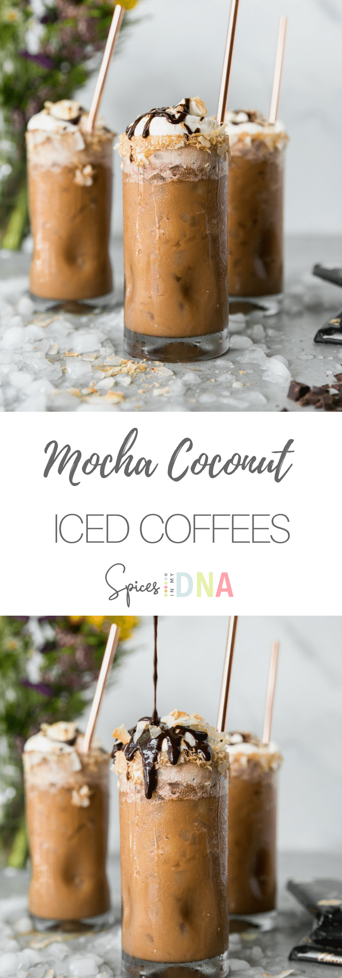 These Mocha Coconut Iced Coffees are the perfect treat to cool down with this summer! They're sweetened with a touch of maple syrup and a super easy to make dark chocolate fudge sauce! And to finish - they're topped with whipped cream, more fudge sauce, and toasted coconut! An iced coffee and chocolate lovers dream! #icedcoffee #mocha #coffee #coconut