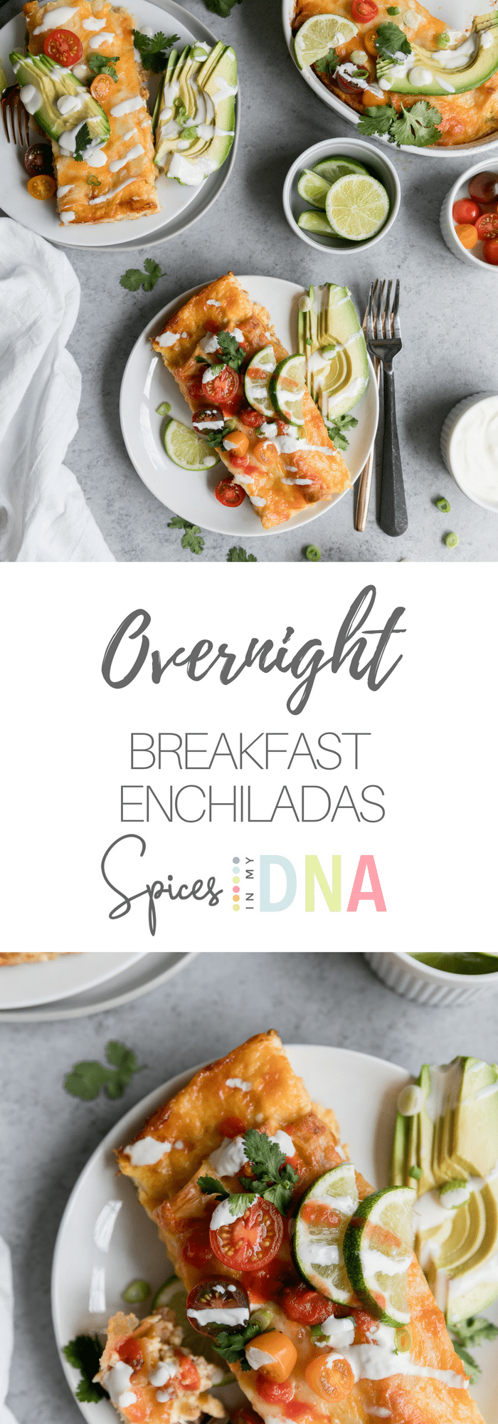These Overnight Breakfast Enchiladas are the perfect make-ahead brunch! They're filled with chicken sausage, peppers, onions, and spices, and then topped with an egg mixture, and left to sit in the fridge overnight! All you have to do is bake it in the morning, and serve with avocado, salsa, sour cream, and cilantro!