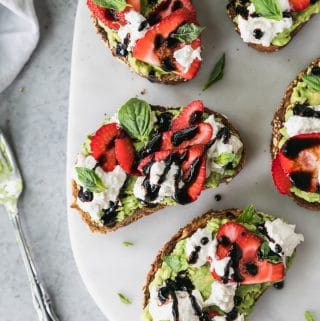 Strawberry Caprese Avocado Toast with Burrata