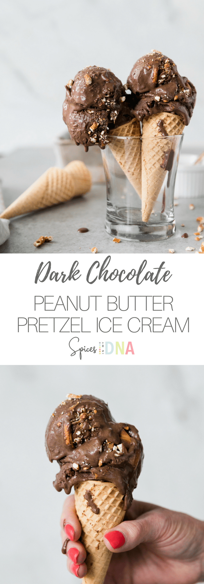 This Dark Chocolate Peanut Butter Pretzel Ice Cream is incredibly smooth, rich, and decadent. It's filled with swirls of peanut butter, intense dark chocolate flavor, and crushed pretzels. It's easy to make, and the most perfect summertime treat! #icecream #darkchocolate #homemadeicecream #peanutbutter