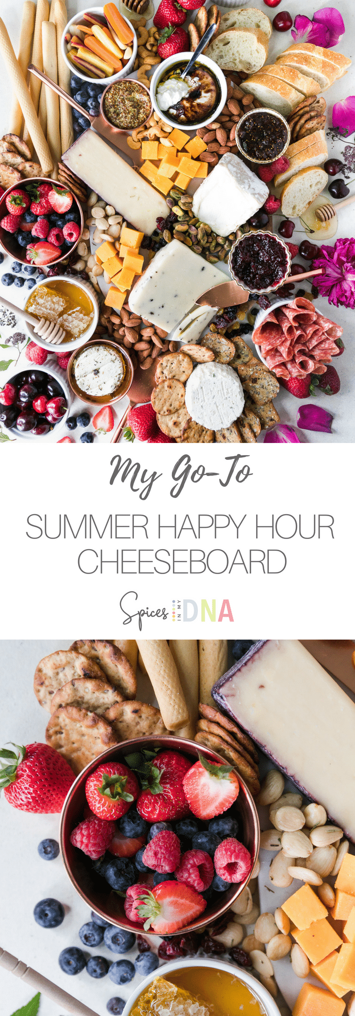 My Go-To Summer Happy Hour Cheeseboard is filled with my favorite cheeses, salami, assorted nuts, crackers, dried fruit, preserves, jams, and honey. I also added some fresh summer berries and cherries because they're in season, and they pair beautifully with all of the salty snacks. All we need is a glass of wine and we're set! #cheeseboard #appetizer #entertaining