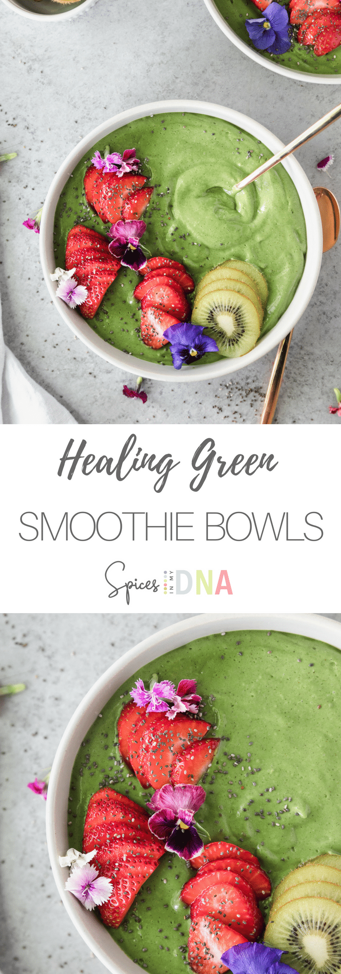 This Healing Green Smoothie Bowl is filled with so many nutrients from spinach, ginger, kiwi, and cinnamon, plus frozen banana and avocado for creaminess! It's jam packed with vitamin C, and it tastes like the most delicious pudding! You'd never know how good it is for you! #smoothie #smoothiebowl #greensmoothie