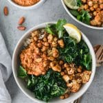 Roasted Cauliflower Chickpea Bowls with Romesco Sauce