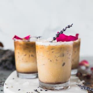 Rose Lavender Honey Iced Lattes