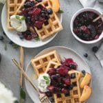 Buttermilk Waffles with Peach Blueberry Compote