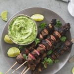 Mexican Steak Skewers with Avocado Salsa Verde