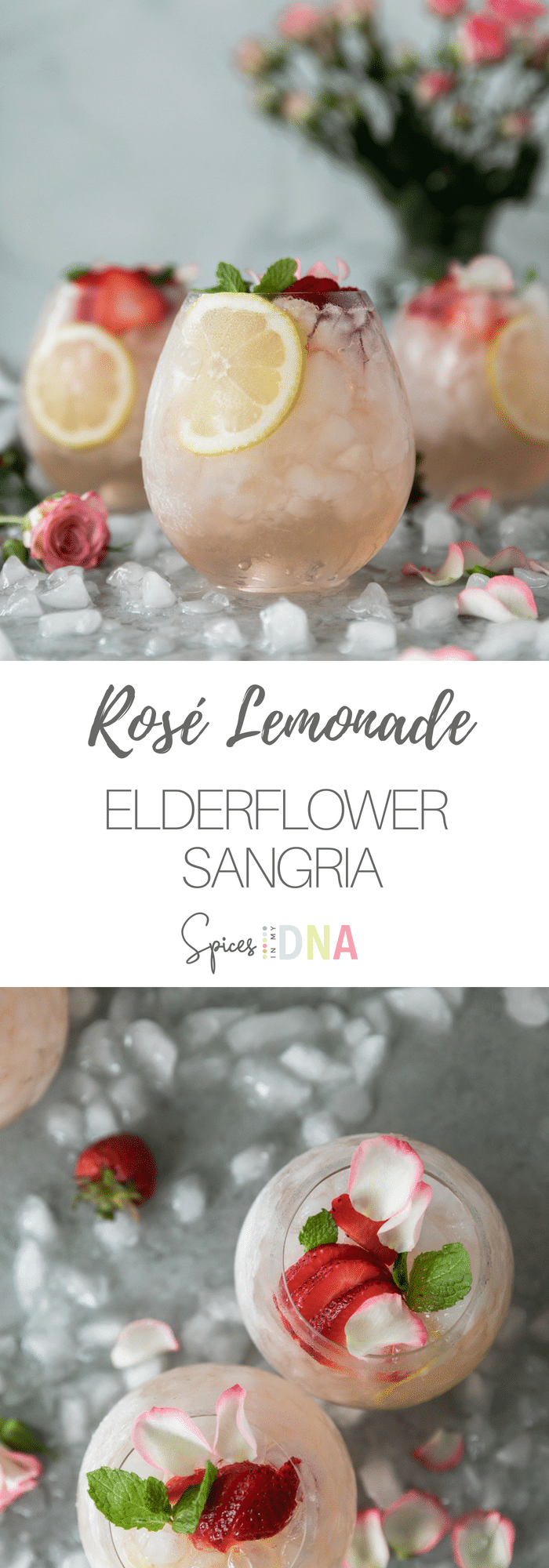 This Rosé Lemonade Elderflower Sangria is the most refreshing summer cocktail! It's super easy to make, only 5 ingredients, and is easily multiplied to serve a crowd! All you need is dry rosé, freshly squeezed lemon juice, a touch of simple syrup for sweetness, elderflower liquer, and a splash of seltzer. Absolutely delicious and dangerously good! #cocktail #rosé #sangria #summer