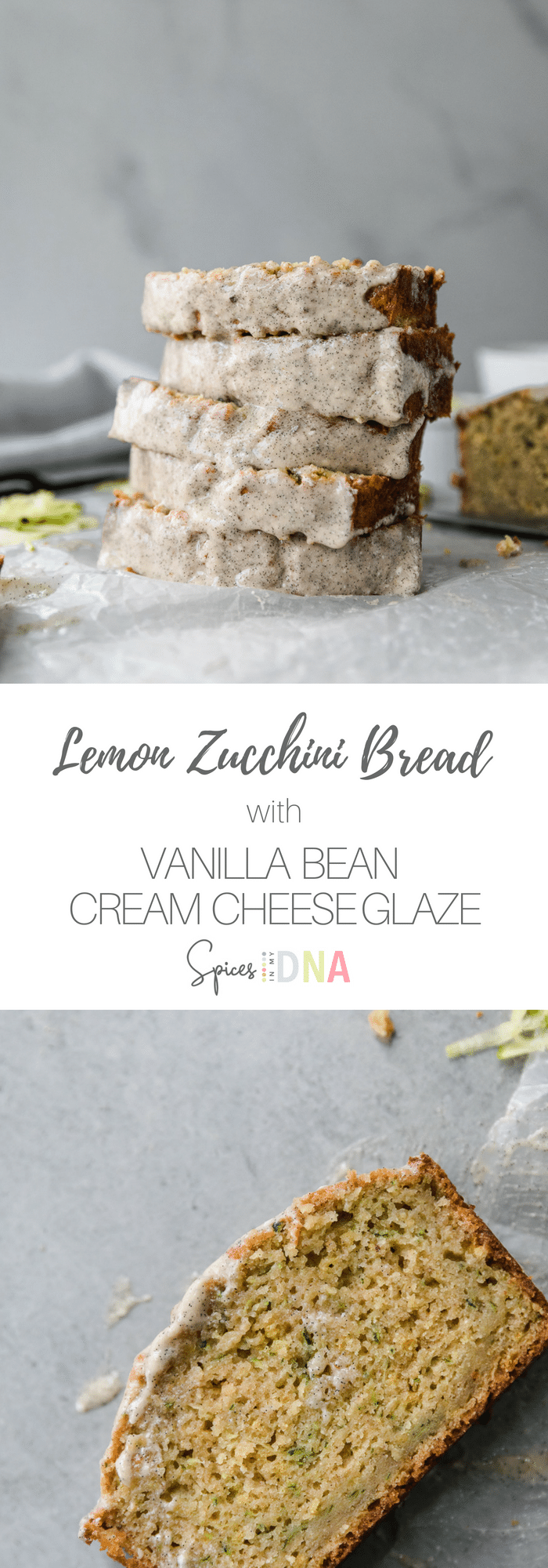 This Lemon Zucchini Bread with Vanilla Bean Cream Cheese Glaze is incredibly flavorful, super moist, and just the right amount of lemony. It's topped with a creamy vanilla bean glaze, and it makes the most perfect breakfast, afternoon snack, or dessert! The best way to use up your leftover summer zucchini! #zucchini #zucchinibread #summerrecipe