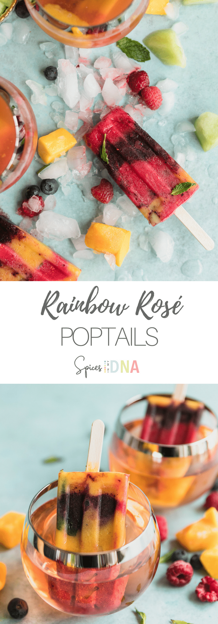 These Rainbow Rosé Poptails are the perfect summer treat! They're made with layers of frozen mango, raspberry, and blueberry purée, as well as some mint and honeydew melon! There's rosé blended into the fruit purées, so they're like a popsicle and cocktail in one! #popsicle #cocktail #rosé