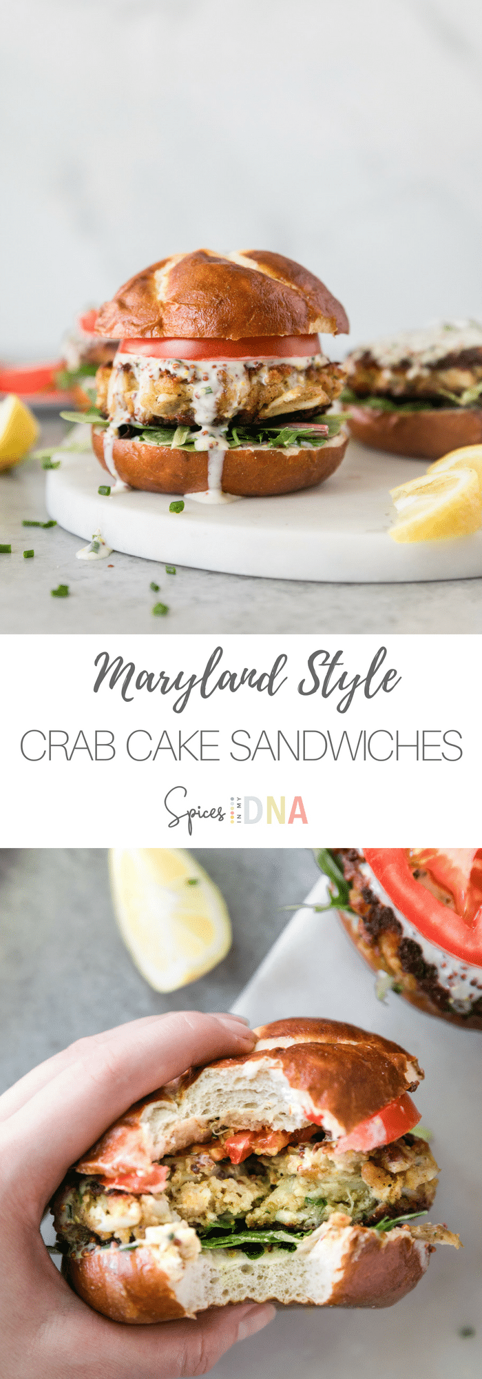These Maryland Style Crab Cake Sandwiches with Chive Honey Mustard are made with jumbo lump crabmeat, hardly any filler, sliced tomato, and a zesty, 3-ingredient chive honey mustard sauce! They're fabulous served with lettuce, tomato, a lemon wedge, and an extra sprinkle of chives! #crabcake #maryland #sandwich