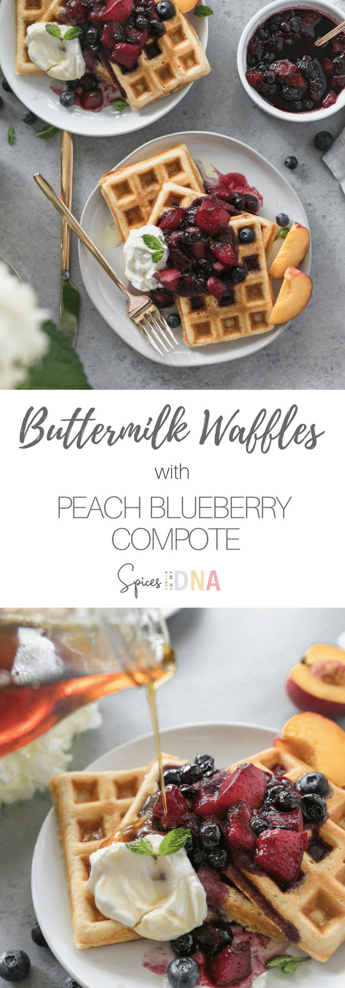These Buttermilk Waffles with Peach Blueberry Compote are light, fluffy, and super easy to make! The peach blueberry compote is such a delicious summery topping, especially if you can find the juiciest peaches and freshest blueberries! An extra drizzle of maple syrup and a pat of butter puts these over the top! #brunch #waffles #buttermilk