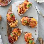 Peach Toasts with Crispy Prosciutto and Honey Whipped Ricotta