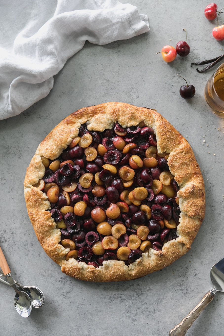 Overhead shot of a cherry galette