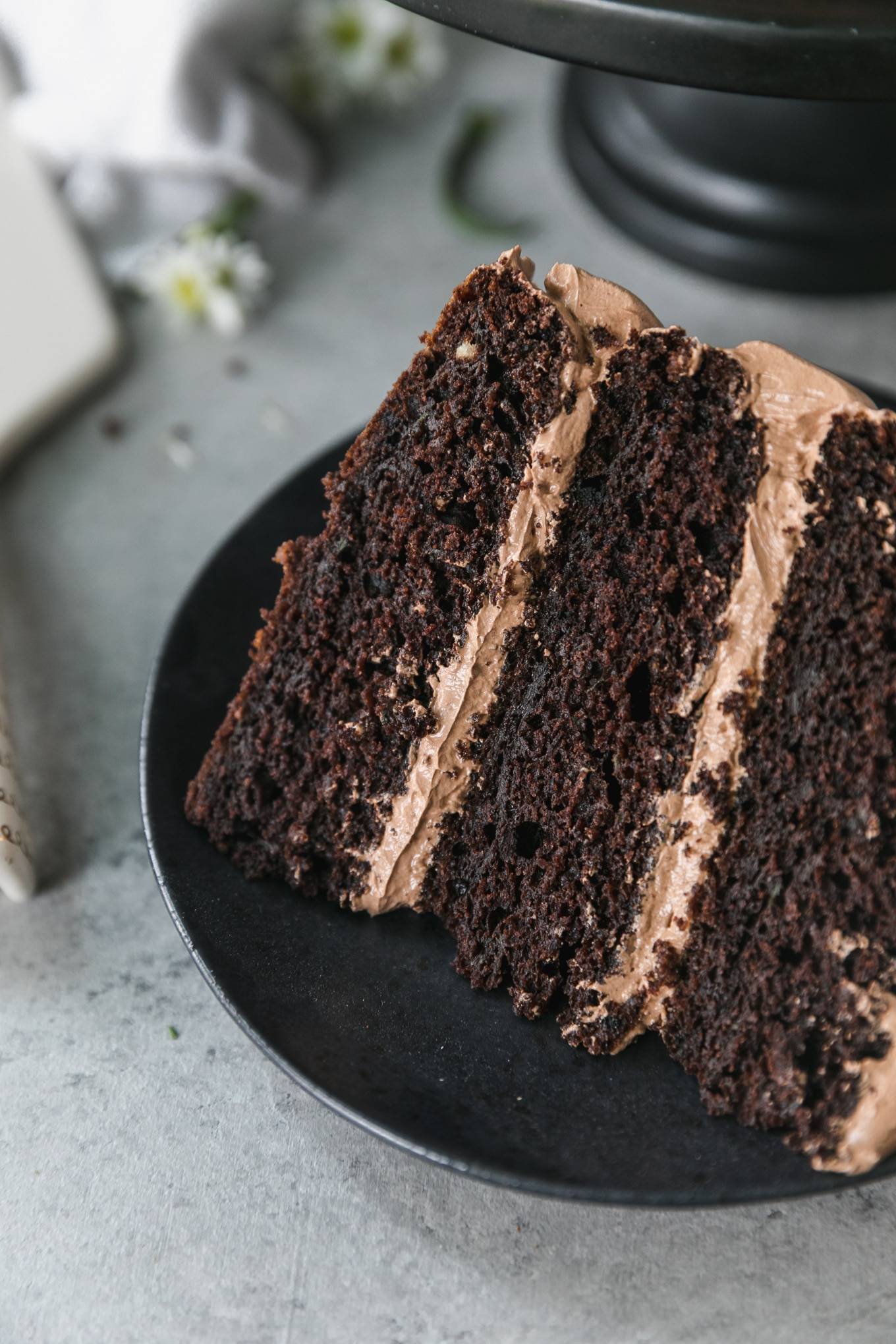 Close up shot of a piece of chocolate cake with light chocolate frosting