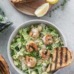 Lemon Herb Shrimp Caesar Salad with Grilled Garlic Bread