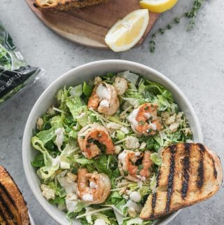 Lemon Herb Shrimp Caesar Salad with Grilled Garlic Bread