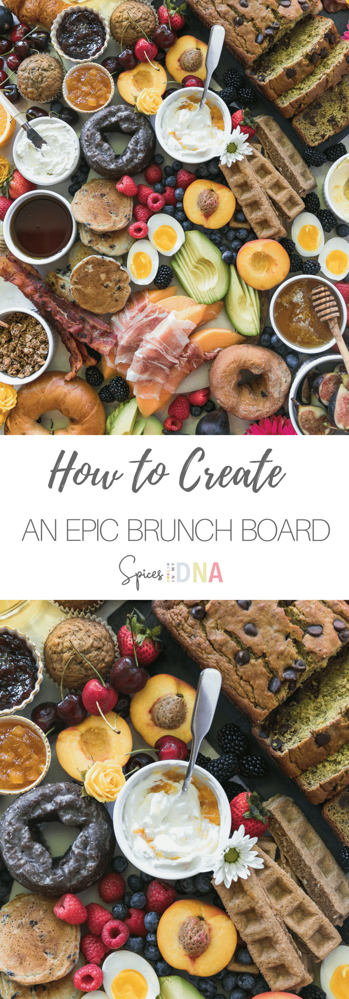 This is exactly how I create the most Epic Brunch Board using all of my favorite breakfast and brunch treats! We've got doughnuts, muffins, chocolate chip banana bread, fruit, mini pancakes, waffle sticks, yogurt, prosciutto wrapped melon, avocado, soft boiled eggs, bacon, granola, and bagels! You can truly add anything your heart desires, and they're so much fun to make and serve at a party! #brunch #entertaining #breakfast