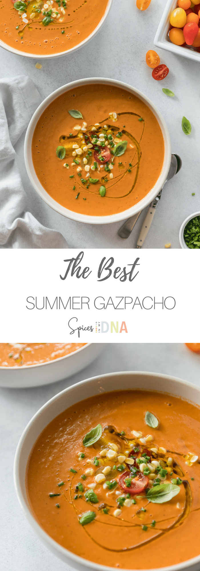 The Best Summer Gazpacho is so easy to make (in the blender!), incredibly fresh, flavorful, and super refreshing for a hot summer day. It's great for using up late summer produce and tomatoes from the garden, and makes a super light meal or appetizer! #gazpacho #soup #summerrecipes