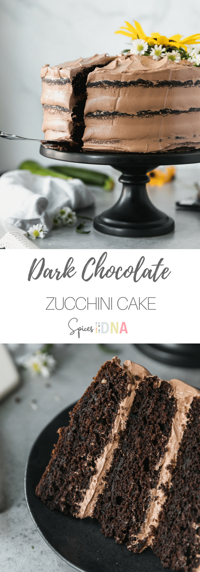 This Dark Chocolate Zucchini Cake is incredibly moist, filled with rich dark chocolate flavor, and topped with a fluffy dark chocolate swiss meringue buttercream. The zucchini is absolutely undetectable, but it lends the best texture to the cake. Perfect for using up all of the late summer zucchini! #chocolate #zucchini #cake