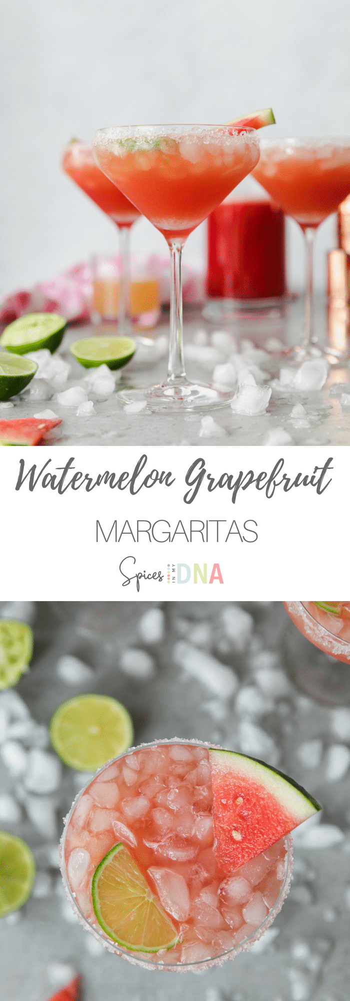 These Watermelon Grapefruit Margaritas are made with fresh watermelon juice, freshly squeezed grapefruit juice, lime juice, tequila (obviously), orange liqueur, and a touch of simple syrup for sweetness! Such a perfect, refreshing summertime cocktail! #margarita #watermelon #grapefruit #cocktail