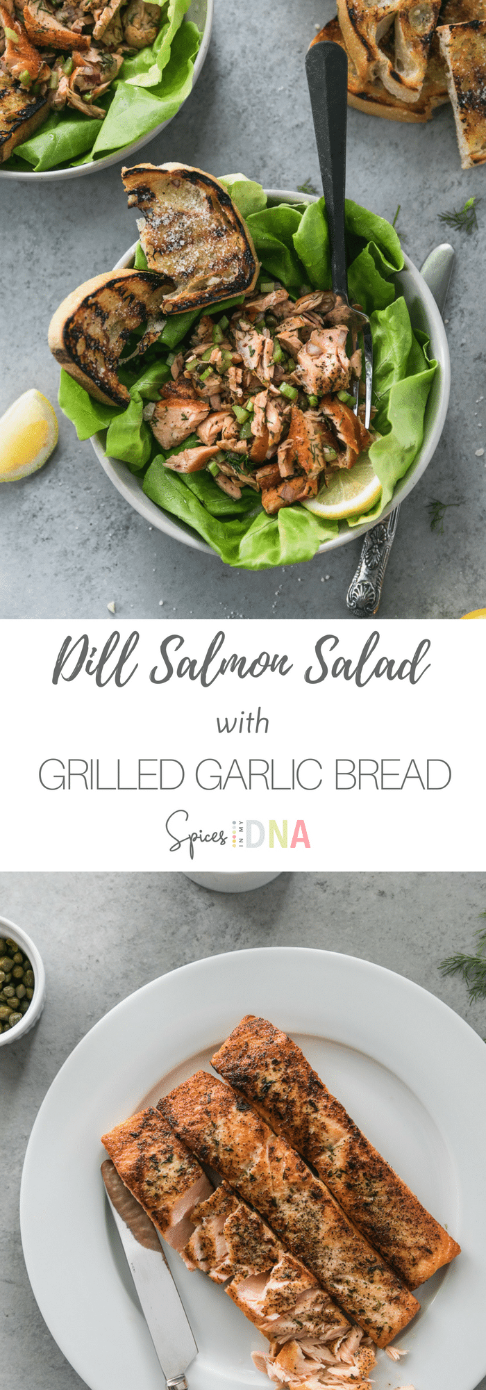 This Dill Salmon Salad with Grilled Garlic Bread is my favorite lunch as of late! The salmon salad is super bright, lemony, a little vinegar-y, and completely addicting. I love serving it over beautiful, soft butter lettuce and grilled garlic parmesan bread! #salmon #salad #easymeal