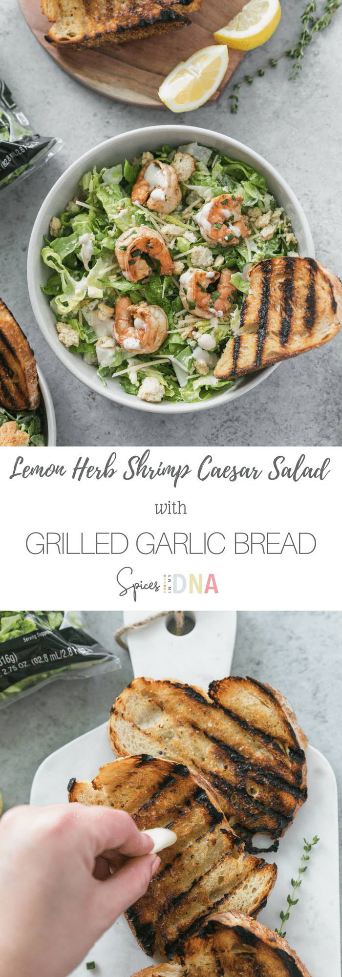 This Lemon Herb Shrimp Caesar Salad with Grilled Garlic Bread is a super simple, flavorful, and satisfying summer salad that takes just minutes to make! We've got marinated lemon garlic shrimp tossed in fresh herbs, parmesan cheese, crushed croutons, creamy Caesar dressing, and crusty grilled garlic bread. Sign me up! #salad #caesar #shrimp