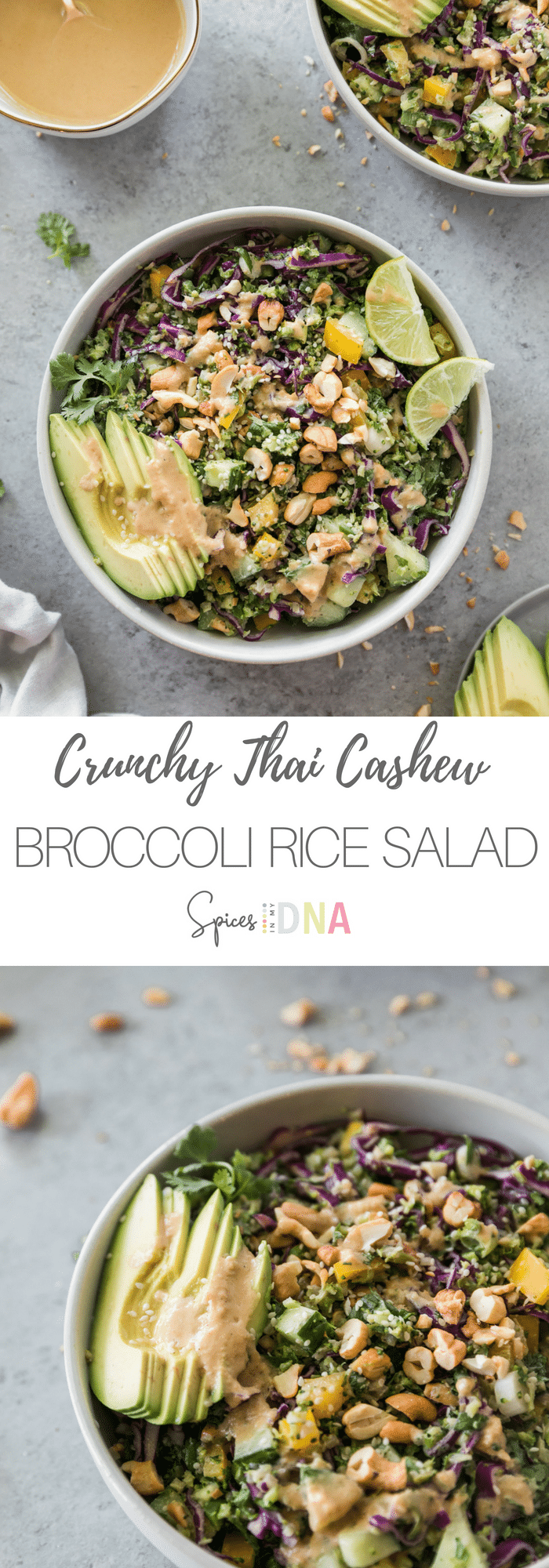 This Crunchy Thai Cashew Broccoli Rice Salad is filled with cucumbers, bell pepper, shredded red cabbage, scallions, broccoli rice, roasted cashews, and a cashew ginger lime dressing. It's super crunchy, filled with tons of nutrients and healthy fats, and it's great for easy lunches! #broccolirice #thai #salad