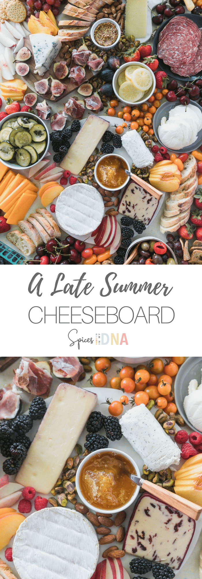 This Late Summer Cheeseboard is filled with some of my favorite end-of-summer treats! Fresh figs wrapped in prosciutto, marinated zucchini, berries, nectarines, peaches, preserved lemons, and an assortment of cheeses. I always add marinated olives, nuts, grapes, grainy mustard, honey, crackers, breadsticks, and sliced baguette too! Feel free to get creative with what you love - they are SO much fun to put together! #cheeseboard #summer #appetizer #entertaining