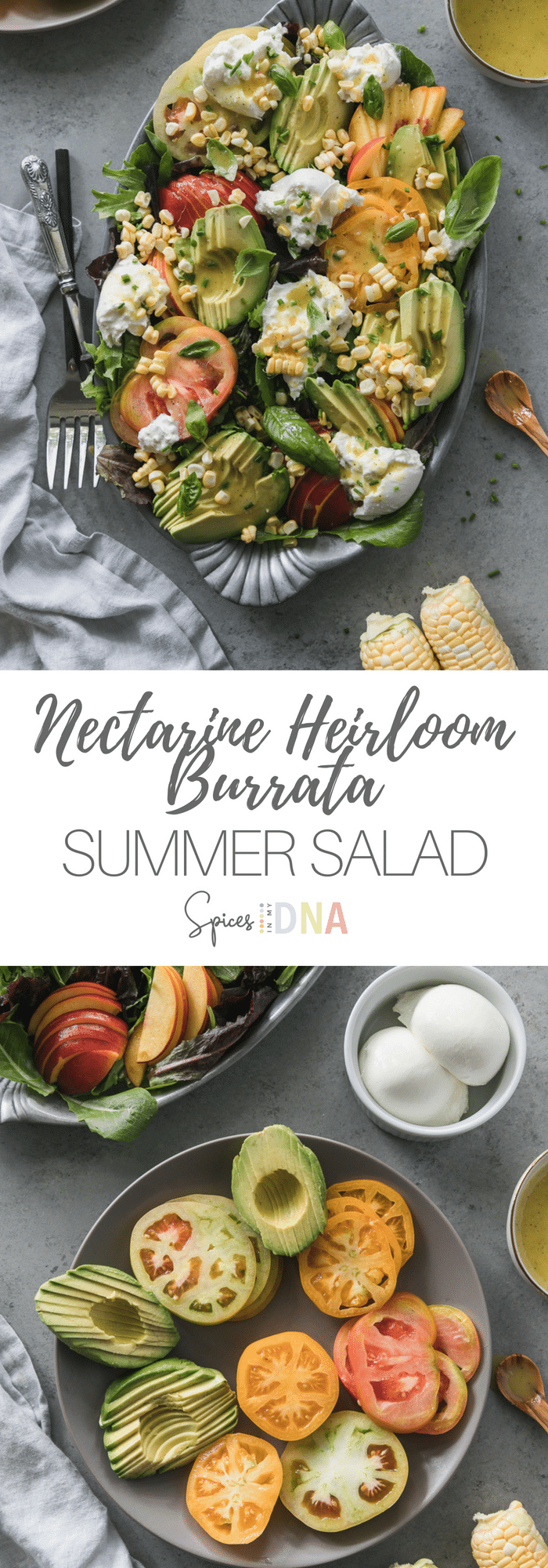 This Nectarine Heirloom Tomato Summer Salad with Burrata is the perfect combination of the best ingredients summer has to offer. Juicy heirloom tomatoes, fresh nectarines, creamy burrata cheese, avocado, raw corn, basil, chives, and a simple honey champagne vinaigrette! #summersalad #burrata #easymeal