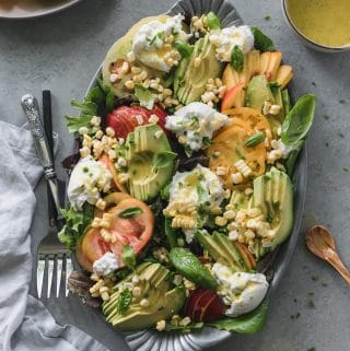 Nectarine Heirloom Tomato Summer Salad with Burrata