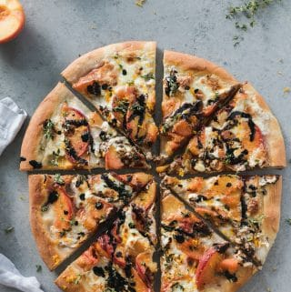 Peach Burrata Balsamic Dessert Pizza