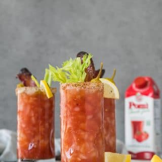 Bloody Marys with Bourbon Maple Candied Bacon