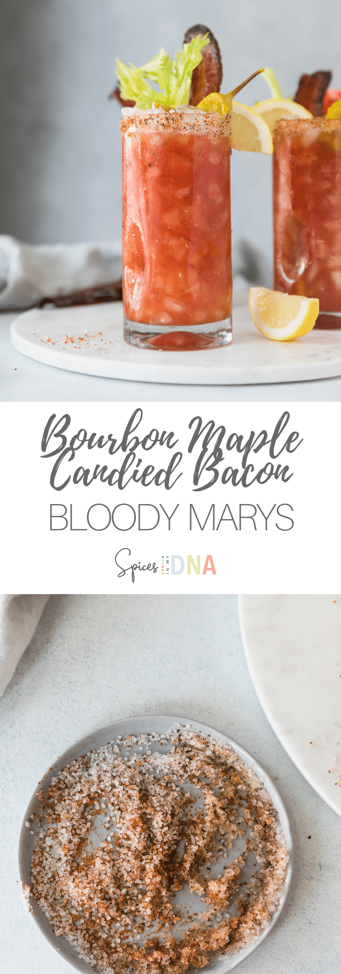 This take on a classic Bloody Mary is made even better with insanely delicious bourbon maple candied bacon, and a super flavorful salty rim! They're such a crowd pleaser at brunch, and they're great to entertain with too! #bloodymary #cocktail #brunch #candiedbacon