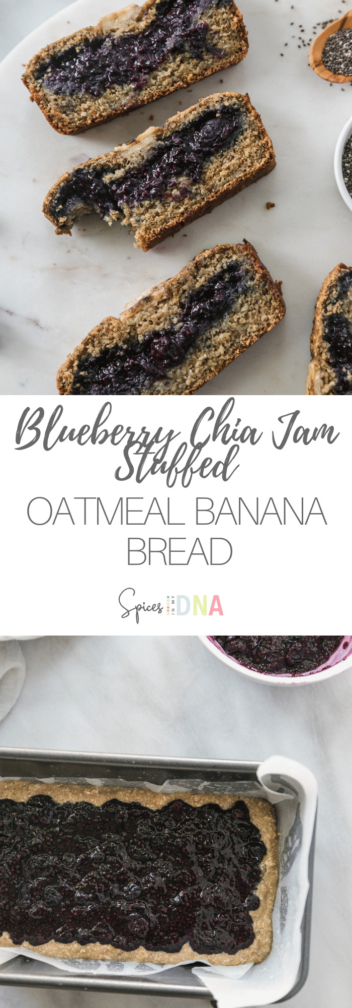This Blueberry Chia Jam Stuffed Oatmeal Banana Bread is completely flourless and made with just oats! It's sweetened with pure maple syrup, and it's stuffed with a super delicious, quick homemade blueberry chia jam. This bread is a perfect healthy breakfast or afternoon treat! #bananabread #flourless #oatmeal #glutenfree