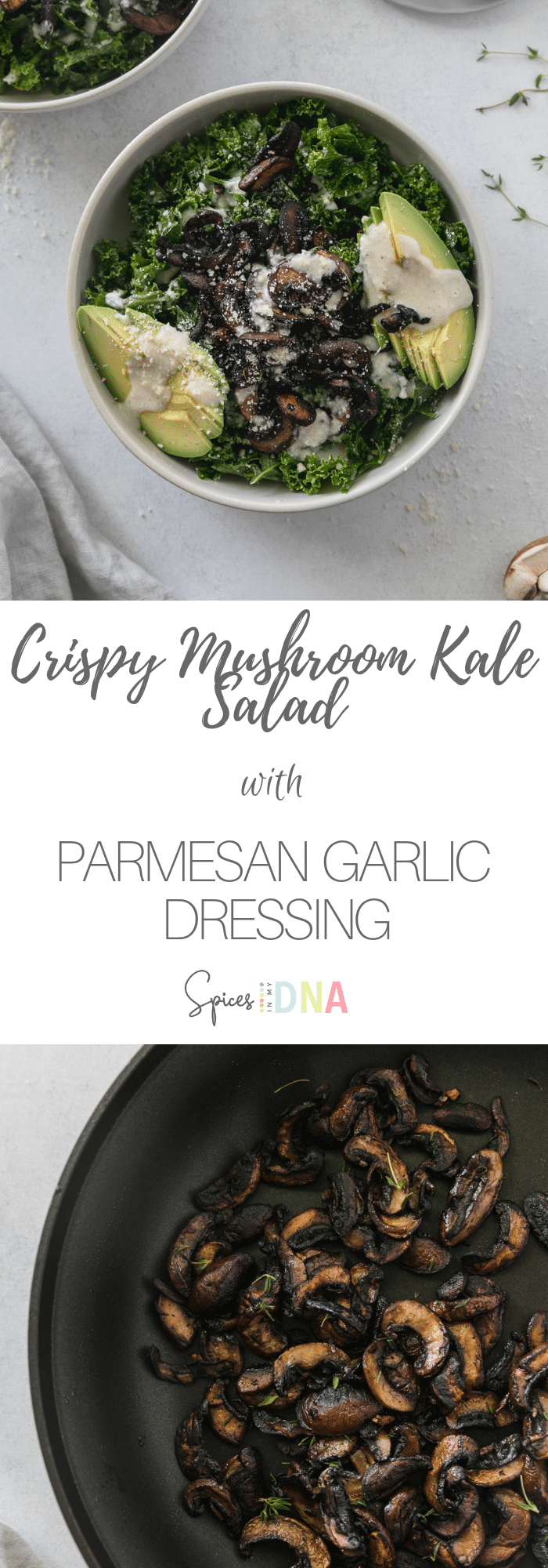This Crispy Mushroom Kale Salad with Creamy Parmesan Garlic Dressing is a hearty, delicious, plant based salad with tons of texture and flavor. The mushrooms are sautéed until crispy and tossed with fresh thyme, then served over a massaged kale salad with avocado and a creamy, garlicky dressing! #salad #plantbased #healthyrecipes