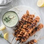 Moroccan Chicken Skewers with Lemony Feta Tzatziki