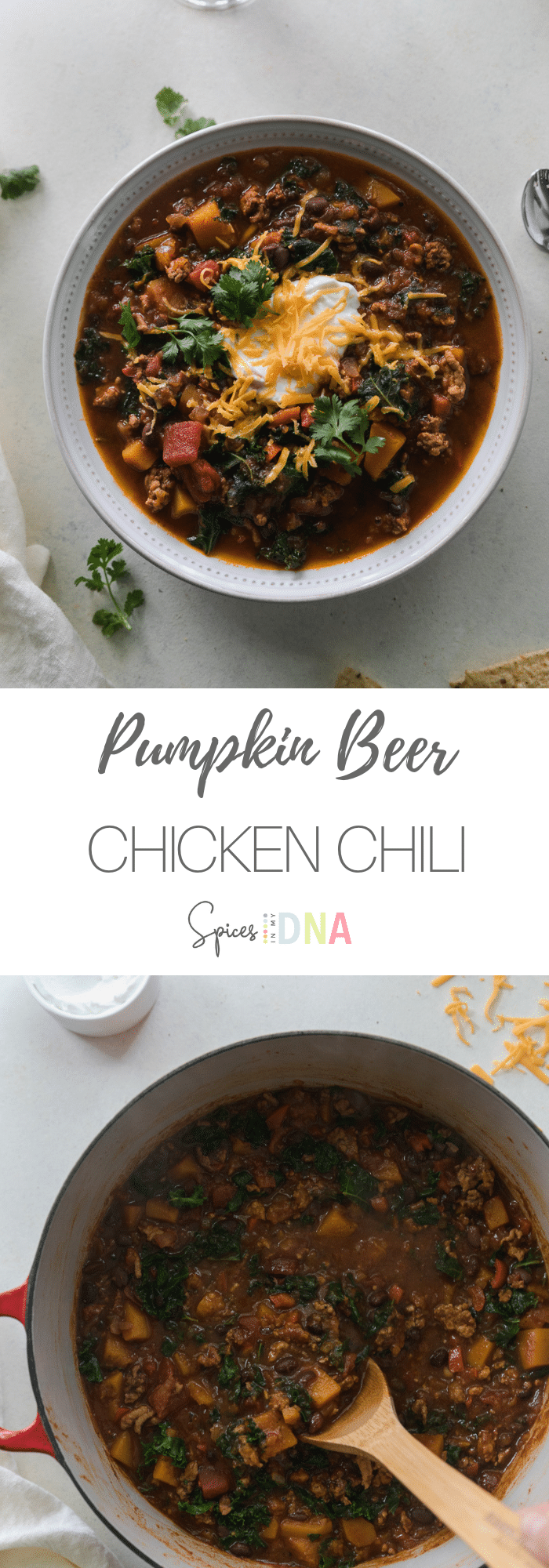 This Pumpkin Beer Chicken Chili with Butternut Squash and Kale is a healthy, hearty chili filled with lean ground chicken, black beans, butternut squash, kale, and your favorite pumpkin beer! It's the perfect mix of your classic chili, and a veggie-forward autumn version! This will forever be one of my favorite meals to make during the chillier months. #chili #pumpkin #beer #butternutsquash
