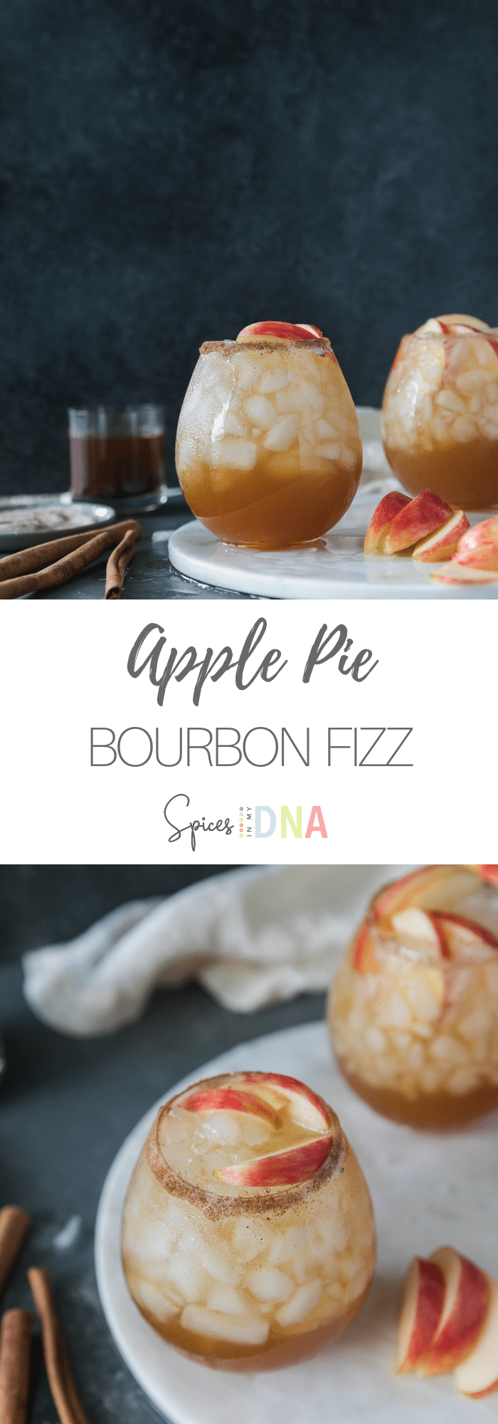 These Apple Pie Bourbon Fizzes are made with bourbon, homemade apple pie spiced simple syrup, apple cider, and a splash of soda water! They're the perfect amount of sweet and the most wonderful cocktail for fall! I love garnishing them with honeycrisp apple slices and cinnamon sticks! #applepie #bourbon #cocktail #fallrecipes