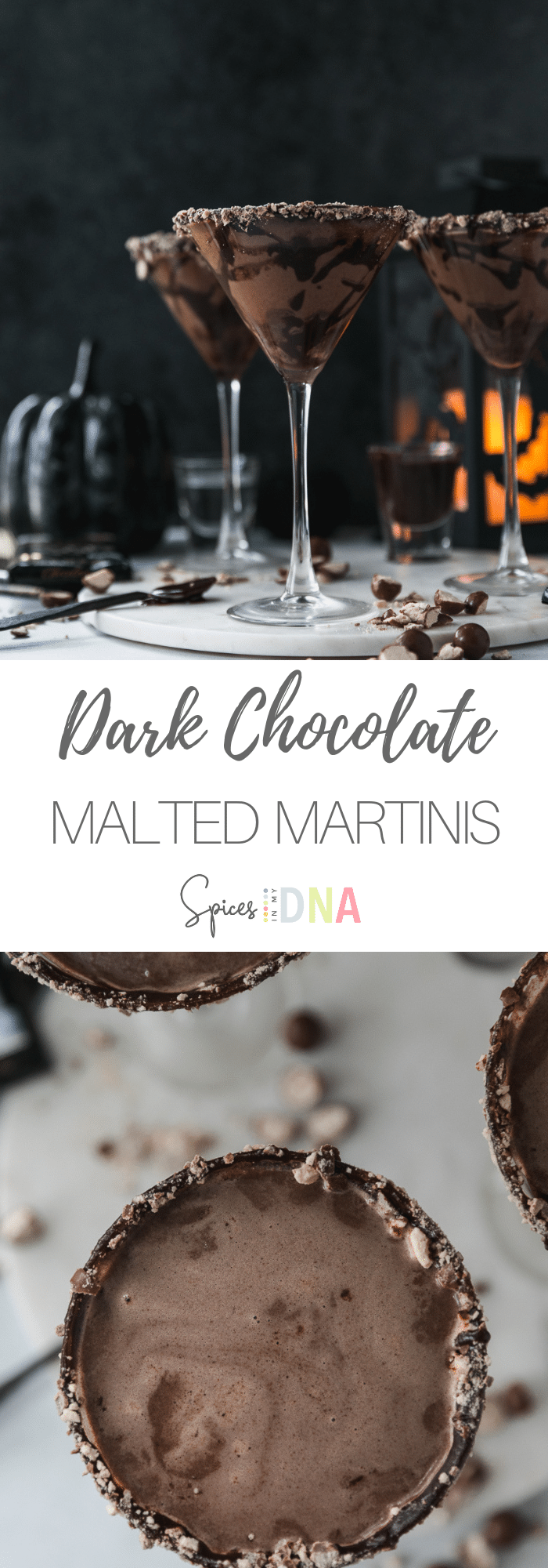 These Dark Chocolate Malted Martinis are a perfect after dinner drink or fun cocktail to serve this holiday season! They're wonderful to make for Halloween, or for when you want a sweet treat! They're made with a homemade dark chocolate fudge sauce, chocolate malt powder, chocolate liqueur, and vodka! #darkchocolate #martini #cocktail