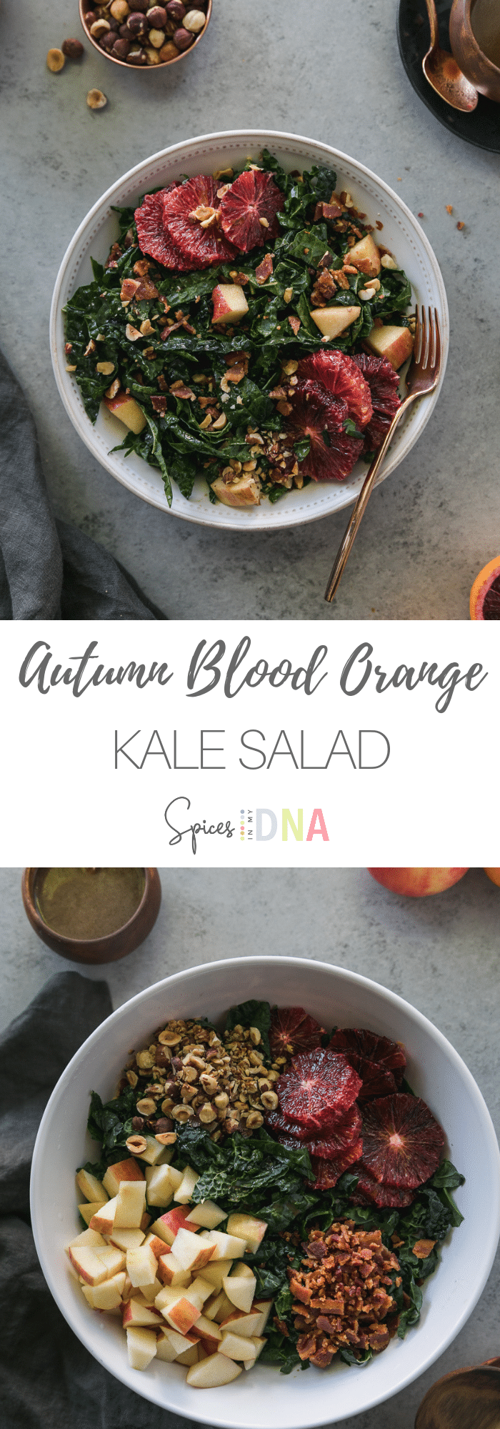 This Autumn Blood Orange Kale Salad is a super simple and incredibly delicious fall salad! It's filled with the best mix of textures and flavors: tuscan kale, honeycrisp apples, blood oranges, toasted hazelnuts, bacon, and a blood orange balsamic vinaigrette! #kale #salad #bloodorange #fallrecipe