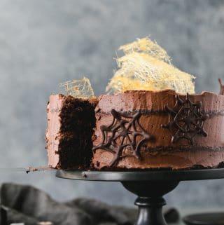 Midnight Chocolate Blackout Cake with Dark Chocolate Spider Webs