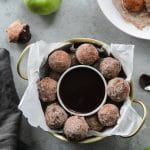 Apple Pie Ricotta Doughnuts with Dark Chocolate Fudge Sauce